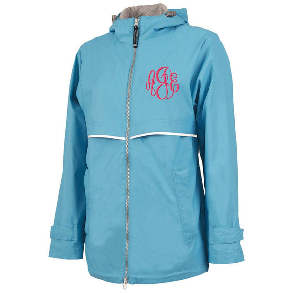 wave blue rain coat, wave blue rain jacket