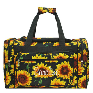 "sunflower duffle, 20"" duffle, sunflower bag"