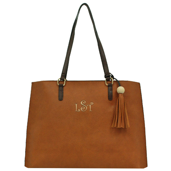 brown faux leather tote with zipper