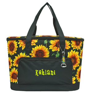 sunflower cooler, cooler tote, sunflower