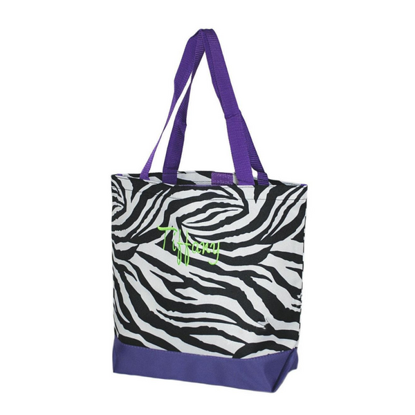 Zebra Print with Purple Trim Tote