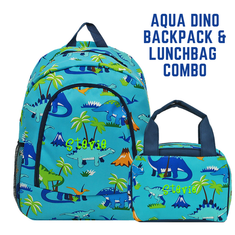 Aqua Large Backpack and Lunchbox Set