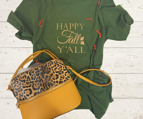 green shirt, happy fall