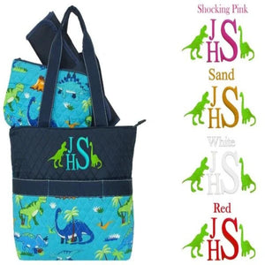Personalized this dinosaur diaper bag for your little one.