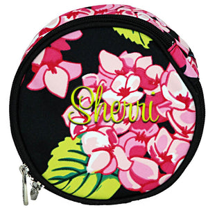 Personalized this colorful round hydrangea jewelry bag, perfect for packing all your jewelry when you travel.