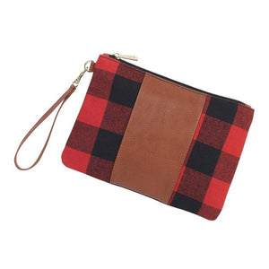 Personalized this Red Buffalo Wristlet