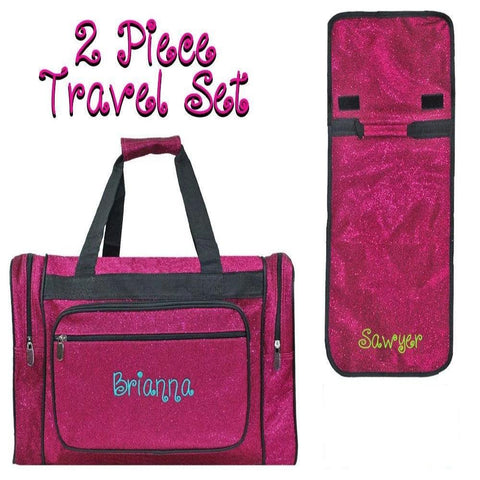 Personalized these set of Duffle Bag and Hanging Cosmetic Bag, comes in hot pink glitter style.