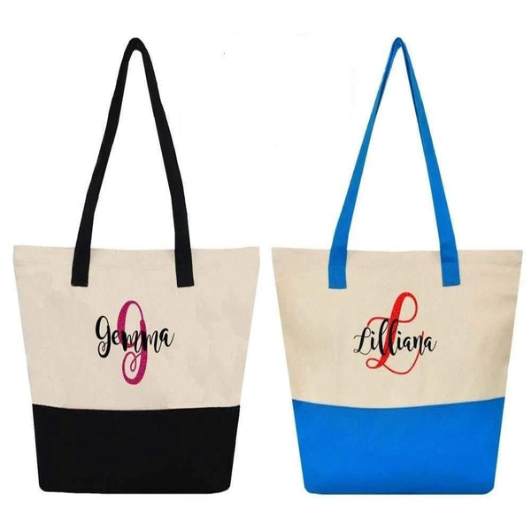 Personalized this two tone closure canvas bag, perfect for travelling and can be used as a gift.