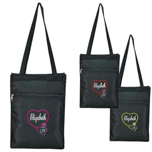 Personalized this Black Tote Bag, perfect gift for anyone who works in the nursing field.