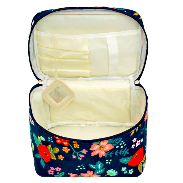 Floral Navy Cosmetic Bag Large