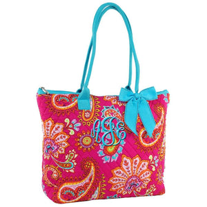 This Hot Pink Tote in Aqua Trim made just for you, perfect for travel or for everyday use, personalize it and you are ready to go.