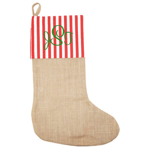 burlap, burlap stocking, christmas stocking