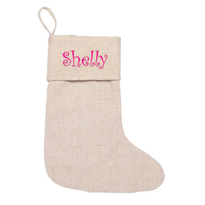 juco stocking, beige stocking, burlap stocking, burlap, stocking