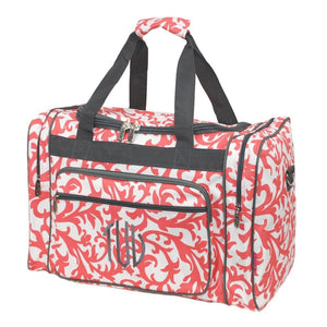 Personalized this Coral Damask Duffle Bag 20""