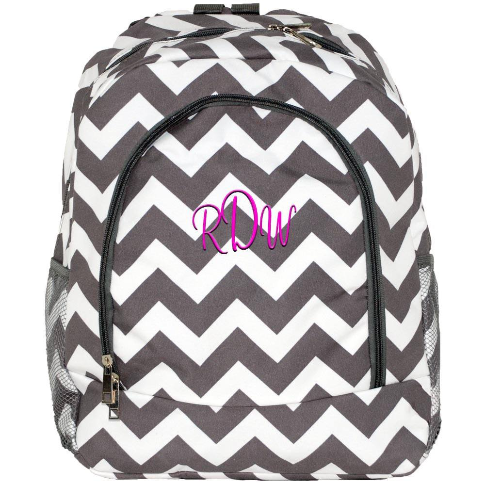 Personalized this Gray Chevron Backpack
