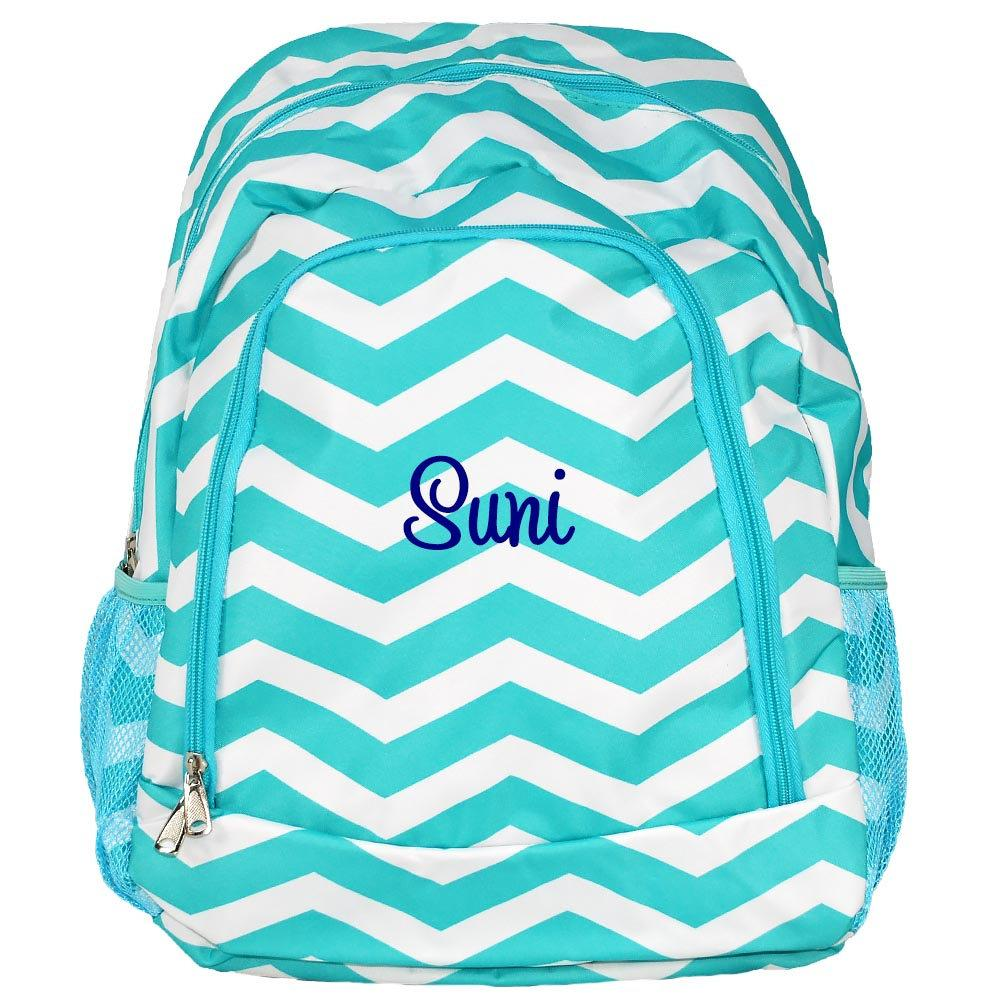 Personalized this Aqua Chevron Backpack