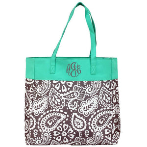 Personalized this beautiful gray paisley pattern tote bag perfect for travelling.