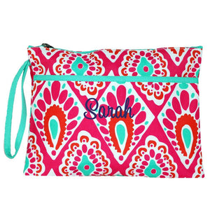 Personalized this stylish Pink Beach Keen Print Clutch, can be used as cosmetic bag or a day-to-day purse.
