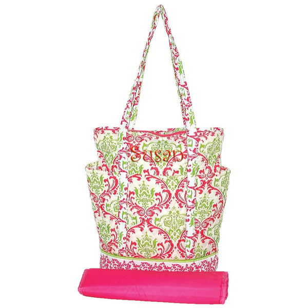 pink damask, diaper bag