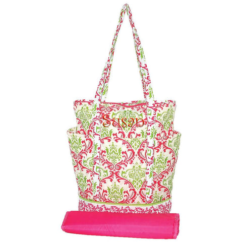 Personalized this Green and Hot Pink Damask Diaper Bag.