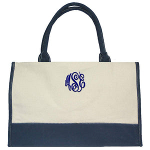 Personalized this Beige Navy Trim Canvas Bag, perfect for any occasions.