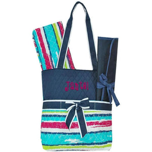 Personalized this beach striped diaper bag, this is great for both girls and boys.