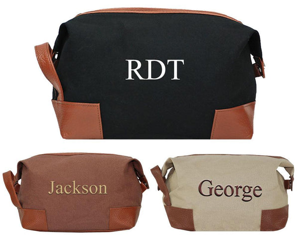 Personalized thhis spacious open compartment canvas dopp bag, perfect organizer for your toiletry when travelling.
