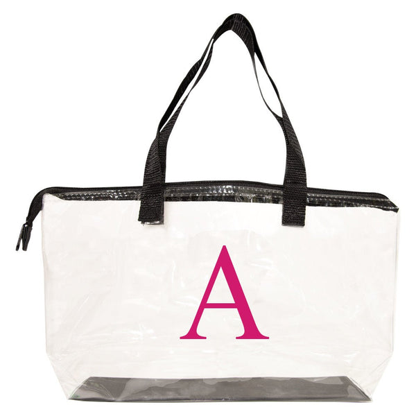 clear with black trim tote