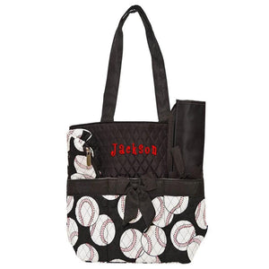 Personalized this adorable baseball print diaper bag, this is great for both girls and boys.