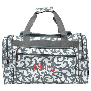 Personalized this Grey Damask Duffle Bag 20""