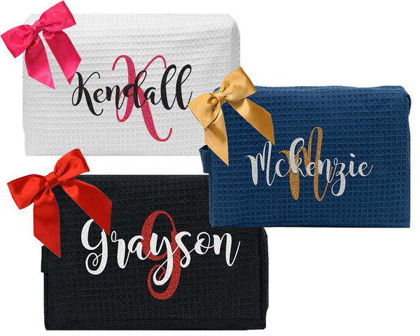 cosmetic bag with ribbon