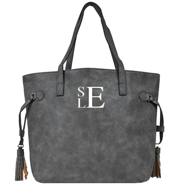 gray tote, tote with tassel