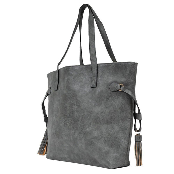 gray tote with tassel