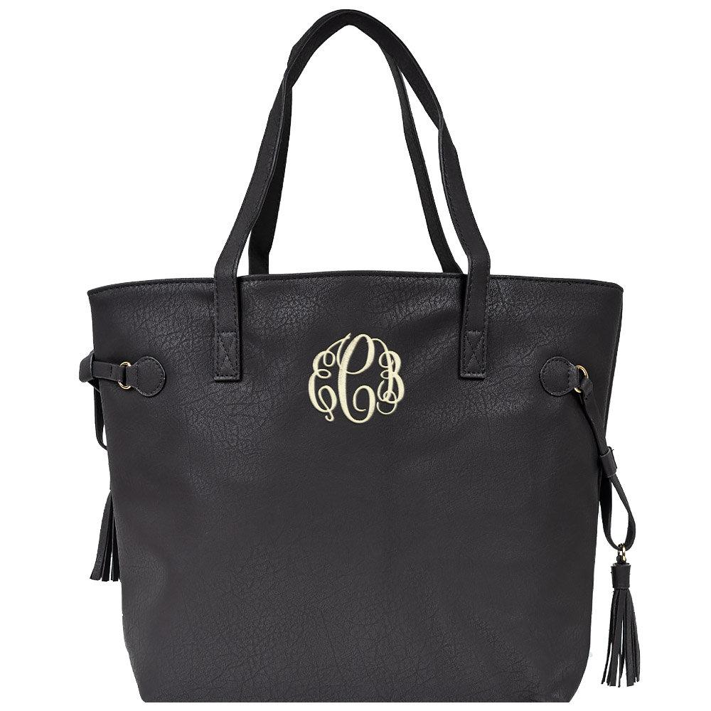 black tote, tote with tassel