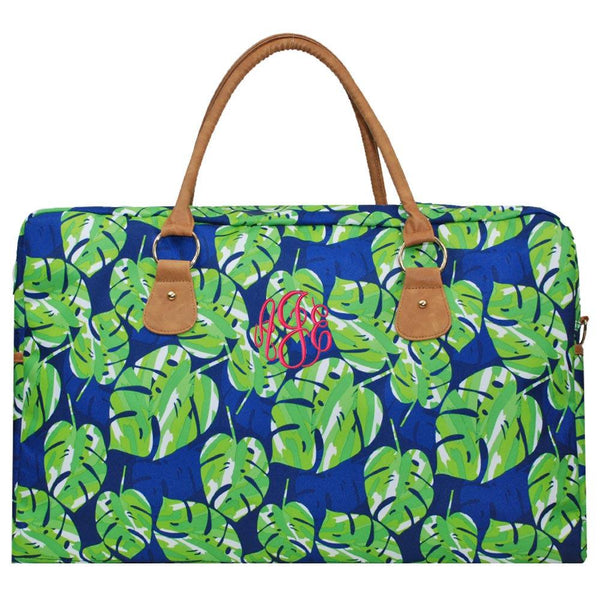 Personalize your own duffle bag with this Tropical Green Palm Leaf design made just for you.