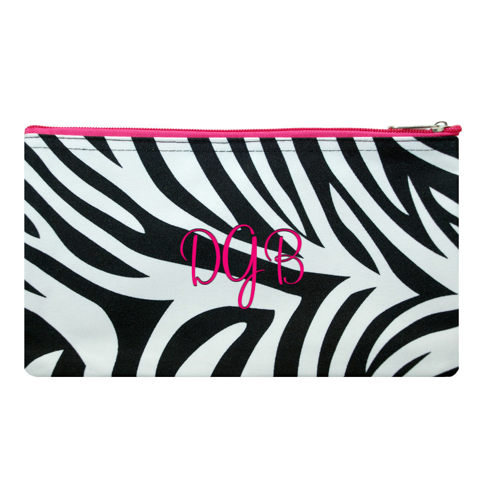 personalized zebra cosmetic bag