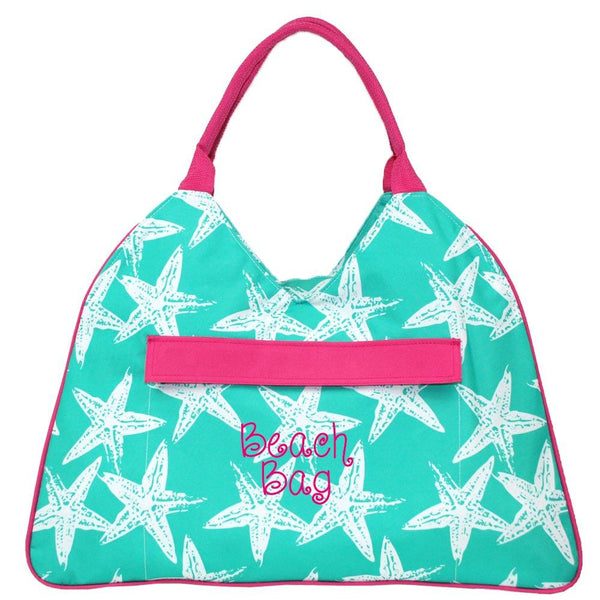 Large Sea Star Beach Bag with Hot Pink Trim