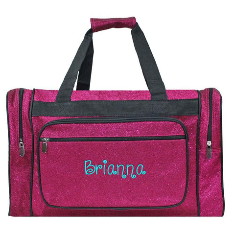 Personalized this Pink Glitter Duffle Bag 20""