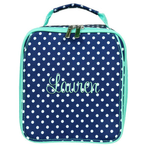 Personalized this cute navy lunch bag with polka dots, can be used as a gift.