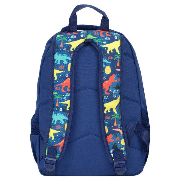 navy dino school bag