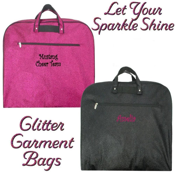 Get these sparkly garment bags, can be used in any occasions, and can be personalized as well.