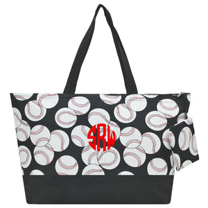 You can personalize this Oversize Tote Bag, comes with basebell designed, great for travelling.