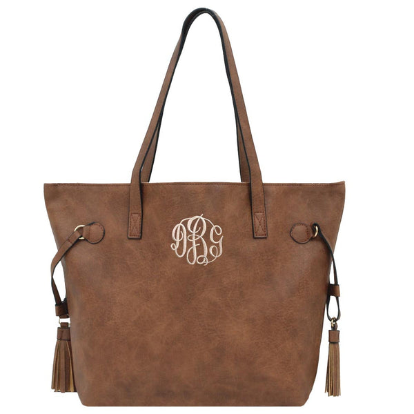 dark brown tote, tote with tassel