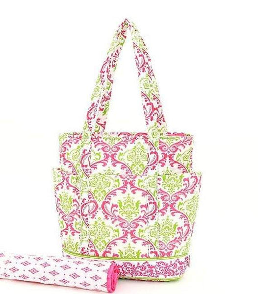 Celery Green and Hot Pink Diaper Bag
