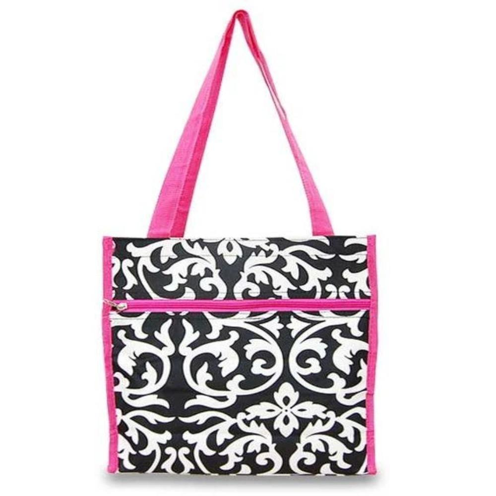 Personaliez this Black and White Damask Tote Bag with Hot Pink Trim, perfect for on the go travel,office,beach or school.