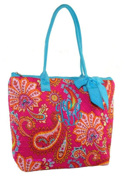 Quilted Tote Bag in Pink Paisley with Aqua Trim