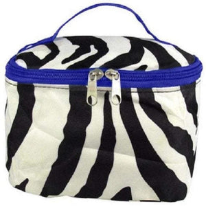 Personalized this Zebra Print with Purple Trim Cosmetic Bag, easy to pack and perfect for travel.