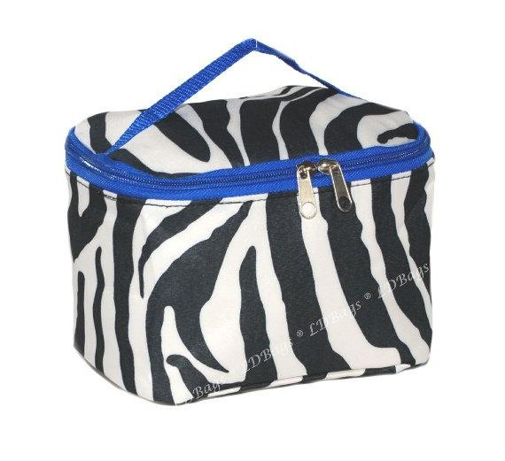 blue trim zebra make up bag