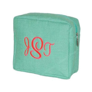Personalized this Mint Jute Cosmetic bag perfect for makeup and toiletries in one bag, easier to pack and perfect for travel.