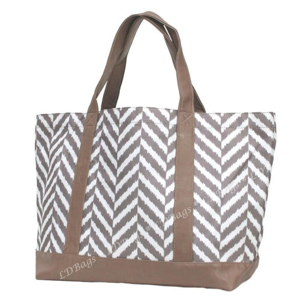 Personalized your Herringbone Taupe Tote Bag, perfect for shopping and for any occasions.